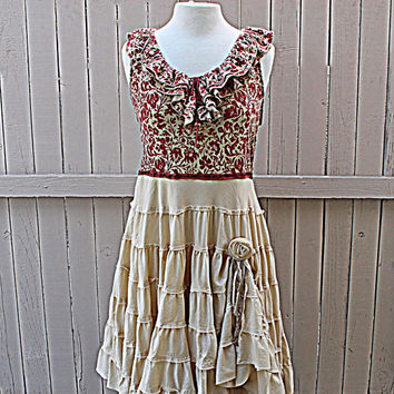Upcycled Women's Babydoll Dress / Praire Rustic / Cream