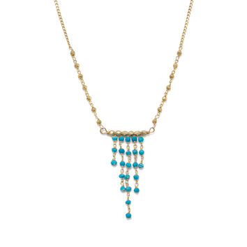 Gold Tone Necklace with Graduated Reconstituted Turquoise Center Drop