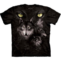 MOON EYES COLLAGE Wolf T-Shirt The Mountain Black White Howling Wolves S-3XL NEW