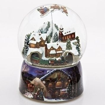 Roman Musical Rotating Snow Globe With Winter Scene Base