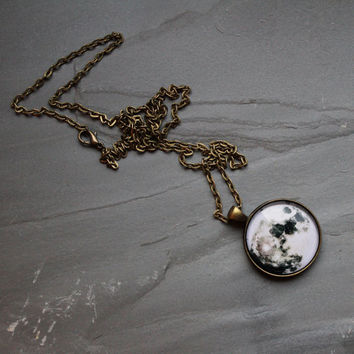 Full Moon Large Pendant Necklace - Wanderlust Collection - Valentines Day, Galaxy, Universe, Outer Space