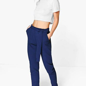 Petite Alice Tie Waist Tapered Trouser