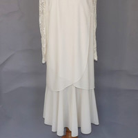 PLUS SIZE Vintage 1970s does 1920s Dress Ivory White 20s Drop Waist Dress 1920s Lace Flapper Dress Party Dress Gatsby Bride Wedding Dress
