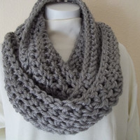 Sale Chunky Infinity Scarf Cowl Eternity Circle Loop Fashion Crochet Gray