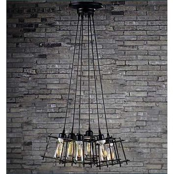 Titania 6-light Black Adjustable Cord 8-inch Edison Chandelier with Bulbs