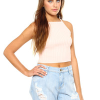 Walk The Line Crop Top - Baby Pink