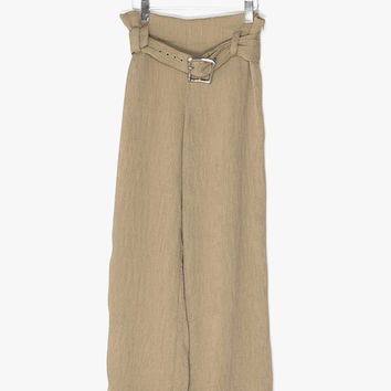 Silky Pleated Wide-Leg Pants
