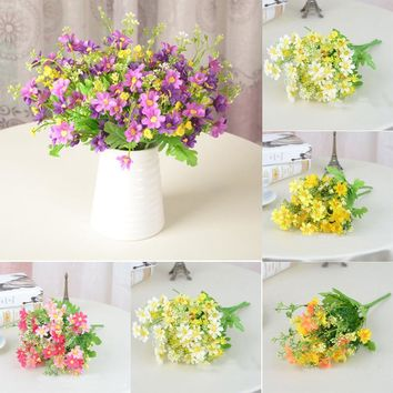 Artificial Bouquet Daisy Silk Simulation Flowers For Bridal Vintage Countryside Wedding Decor Small Chrysanthemum