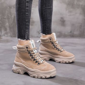SHOES BOOTS Brown Shoes Women Dr. Martins style Boots Creoss-tied Lady Real Leather Female footware Black boots Women