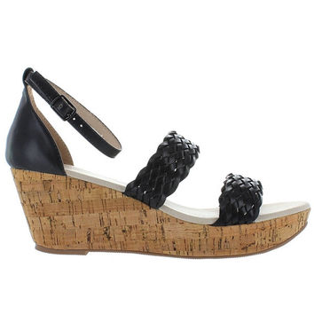 Restricted Bali - Black Woven Dual Band Platform Wedge Sandal
