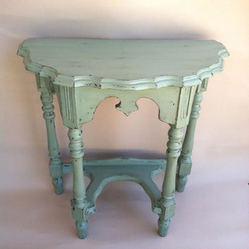 Wonderful Cottage Chic Half Round Antique Side Table Shabby Chic Coastal SideTable