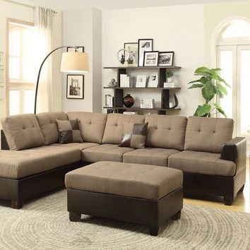 Blended Linen 3 Pieces Sectional Sofa Tan Brown