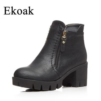 Ekoak Women Boots New 2017 Fashion Shoes Woman Autumn Ankle Boots Classic High Heels Platform Boots Casual Cowboy Boots L35