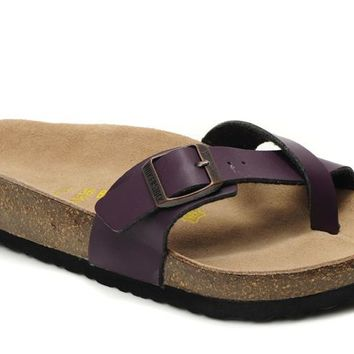 Birkenstock Piazza Sandals Artificial Leather Purple - Ready Stock