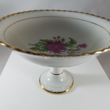 Floral Design  Hand Painted Fruit Compote     (966)