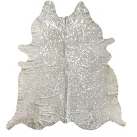 Houchin Hand-Woven Cowhide Beige/Silver Area Rug