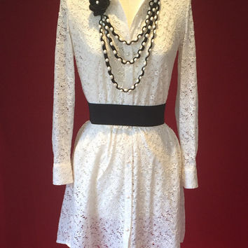 Summer dress, Shirt dress, lace dress, ivory dress, ivory shirt, beach dress,