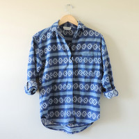 Vintage Tribal Aztec Jean Button Down Shirt Size SMALL