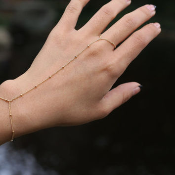 Slave Bracelet - Satellite Hand Chain Bracelets in 14K Gold filled and Sterling silver