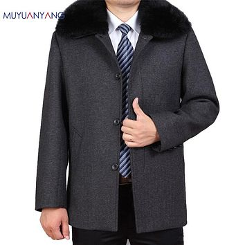 Men's Cashmere Coat Winter Overcoat Casual Woolen Jacket Collar Rabbit fur Collar Classical Wool Coat Clothing