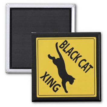 Black Cat Xing 2 Inch Square Magnet