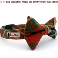 Plaid Flannel Dog Collar - Rust, Turquoise, Forest Green- (Matching Bow Tie Available)
