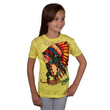 PEAPGQ9 Ed Hardy - Native American Girls Youth Burnout T-Shirt