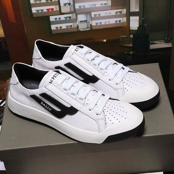Bally The New Competition Men's Deer Leather Trainer In White Black Sneakers Shoes Sale