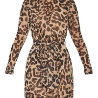 Leopard Print Wrap Detail Shirt Dress