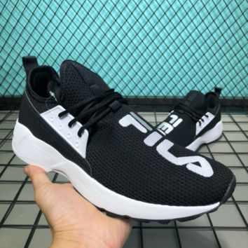 AUGUAU F003 Fila Filaray Summer Knit Causal Running Shoes Black White