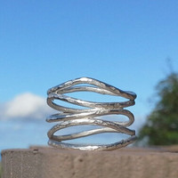 Sterling silver waves ring.