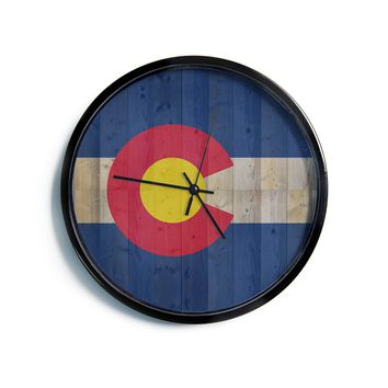 "Bruce Stanfield ""Flag of Colorado"" Blue Red Modern Wall Clock"