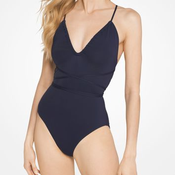 Wrap V-Neck Maillot | Michael Kors