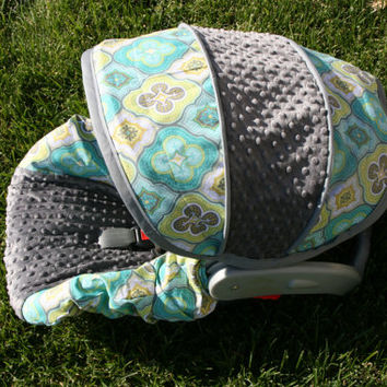 Medallion fabric with Gray minky- Infant car seat cover- Custom Order Comes with Free Strap Covers