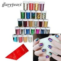 66 Designs 1 Piece Metal Foil Transfer Nail Sticker Metal Decal Colorful Laser Broken Glass Starry Sky Nail Art Sticker Manicure