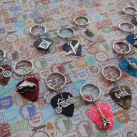 Travel  Key Chain, Guitar Pick, Bicycle, Car, Motorcycle, Eiffel Tower, Train, Gondola Boat, Cruise Ship, Camp Sign, Passport, Plane, Camera