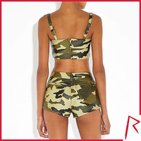 Rihanna  collection for River Island . Khaki camo leather shorts