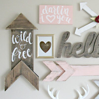 Woodland Nursery Decor // Wild & Free Wood Sign // Hand-Lettered Hand-Painted // Rustic Arrow