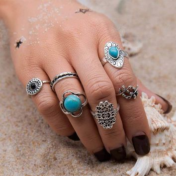 Silvered - Boho Midi Ring Set