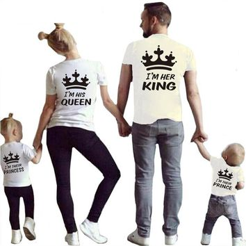 Cool 2018 Summer Matching Family Tshirt Cotton Short Sleeve T-shirt King Queen Couples T shirt Crown Printed Casual Solid Top ClothesAT_93_12