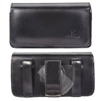 Fonus Black Horizontal Leather Side Phone Case Carrying Pouch Cover Holster Sleeve with Swivel Belt Clip and Loops for AT&T Nokia Lumia 900