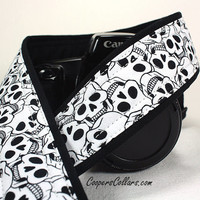 Skull dSLR Camera Strap, Black, White,  Dia de los Muertos, Day of the Dead, SLR