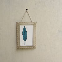 Small blue bird feather wall art watercolor by catherinereece