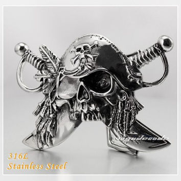 Heavy Pirate Solid 316L Stainless Steel Mens Biker Rocker Belt Buckle Q022