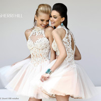 Sherri Hill 21193 - High Neckline Lace Floral Prom Dress in Ivory