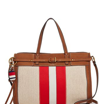 Tory BurchCanvas and Suede Satchel