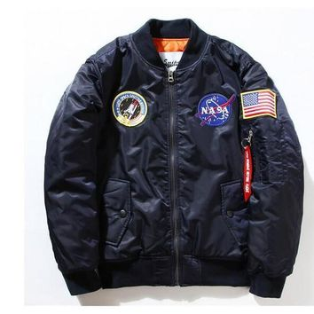 All year round Ma1 Bomber Flight Pilot Jacket Men Bomber Jacket Nasa Air Force Embroidery Baseball Military thick and Thin Jacket