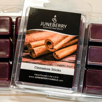 Cinnamon Sticks - Scented Wax Melts - Highly Scented Soy Wax Blend - Six Melts, Tarts, Hand Poured By Juneberry Candle