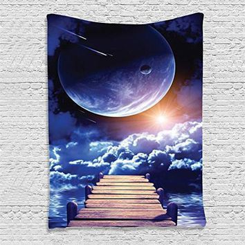 Cloud Earth Moon Sun Printed tecido mandala wall hanging decoracion tapestry polyester indian mandala