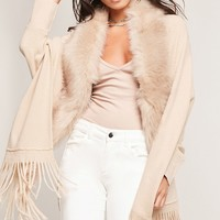 May Logan Faux Fur Trim Poncho